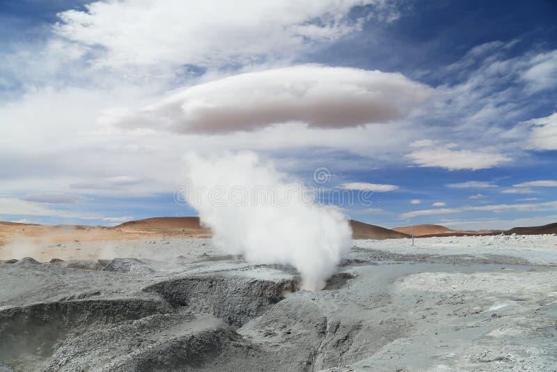 Geyser in Uyuni, Bolivia. Salt lake desert stock images