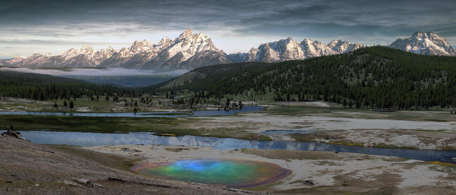 Geyser at Yellowstone. Panorama of a colorful geyser at Yellowstone National Park stock photos