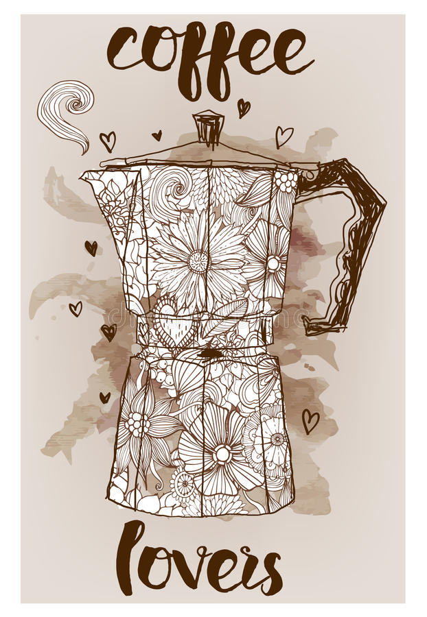 Geyserkaffebryggare royaltyfri illustrationer