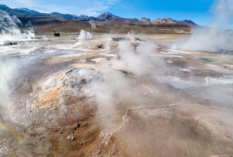 Geysers de vallée à l'EL Tatio, Chili du nord, Atacama photo stock