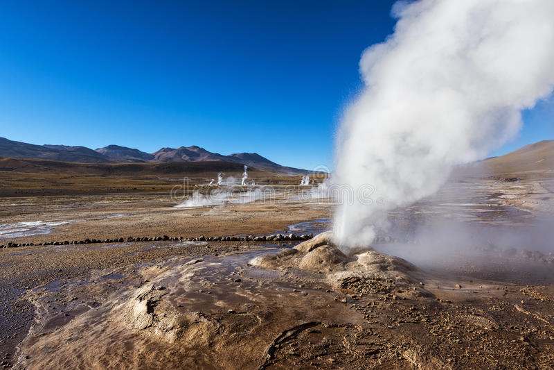 Geysers del Tatio dans le désert d'Atacama photos stock