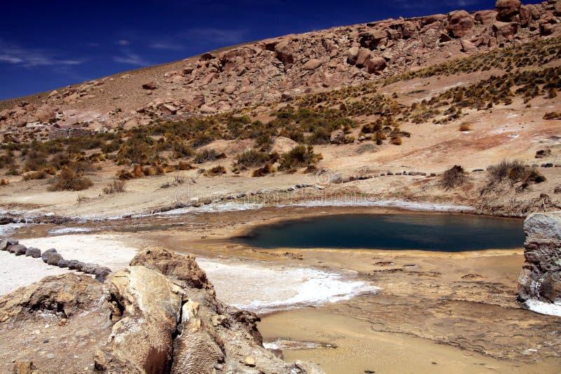 Geysers för El Tatio i den Atacama öknen, Chile: Sikt på den varma naturliga blåa pölen som får blå färg från kiseldioxid royaltyfri fotografi