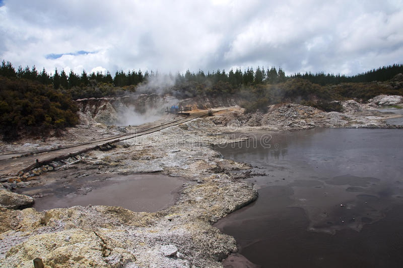 Geysers and hot springs are located in many places stock images