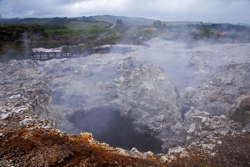 Geysers and hot springs are located in many places stock photography