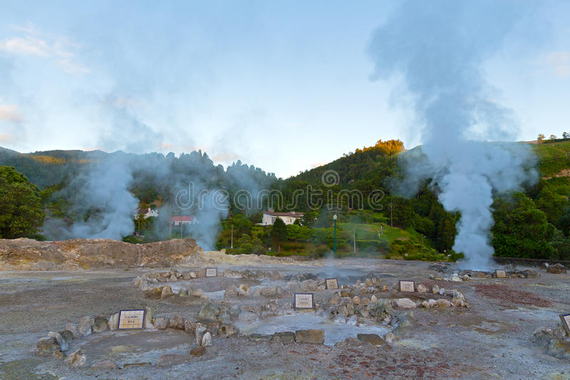 Geysers in the village of Furnas, Sao Miguel, Azores, Portugal. stock images