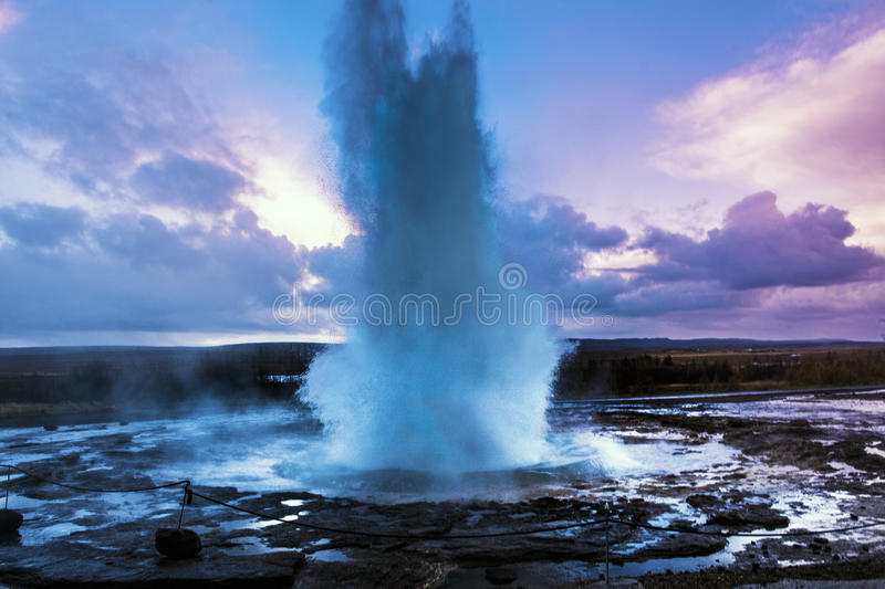 Geysir geyser. In Iceland at the sunset light stock photography