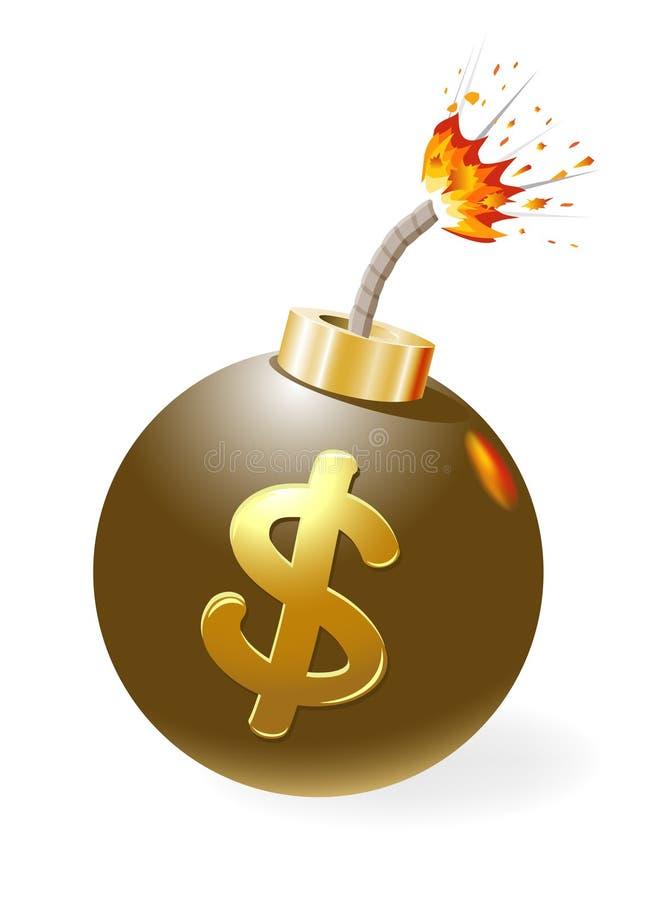 Gezündete Bombe mit Dollarsymbol. stock abbildung