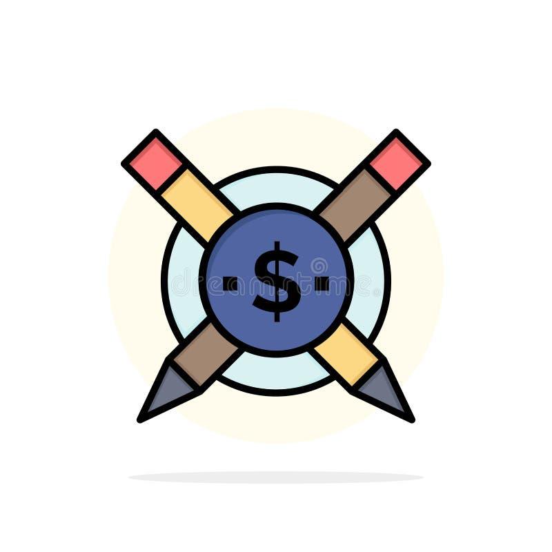 Gezahlt, Artikel, zahlende Artikel, des abstrakten flache Ikone Farbe Kreis-Hintergrundes Digital lizenzfreie abbildung