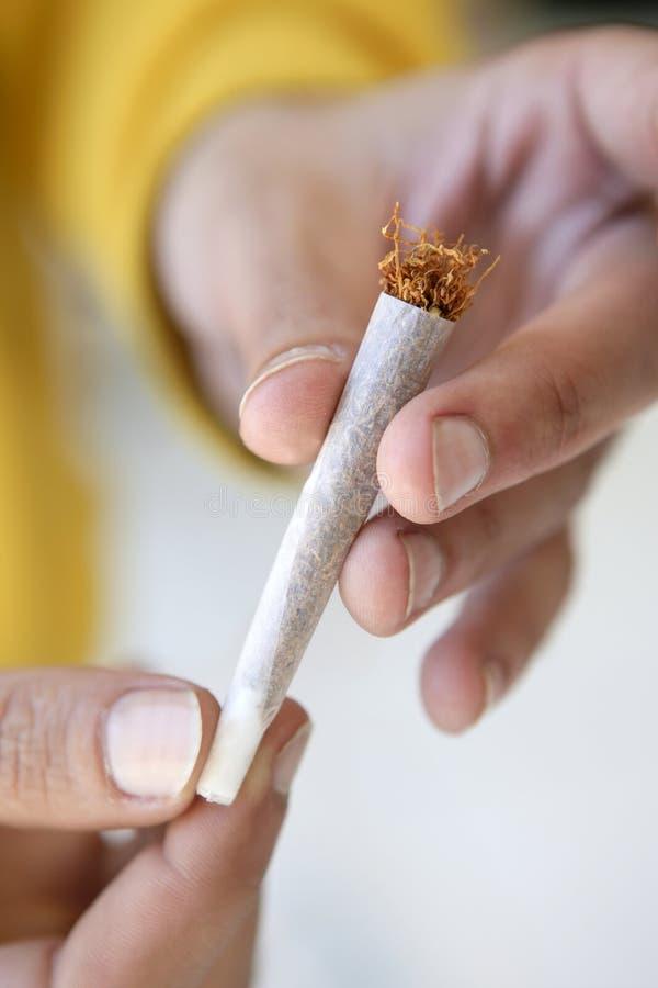 Gezamenlijke tabakssigaret in enkel voorbereide handen stock afbeelding