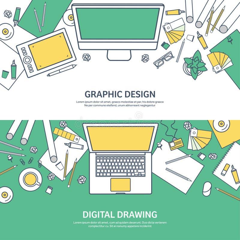 Gezeichnet, ouline flaches grafisches Webdesign Zeichnung und Anstrich entwicklung Illustration und Skizzieren, freiberuflich tät stock abbildung