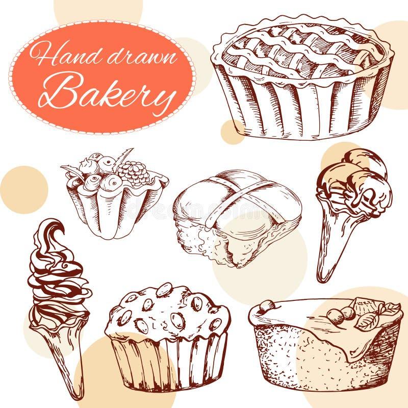 Gezeichnete Art der Vektornachtisch-Elemente in der Hand Köstliche Nahrung Kunstillustration Süßes Gebäck für Ihr Design im Cafém vektor abbildung