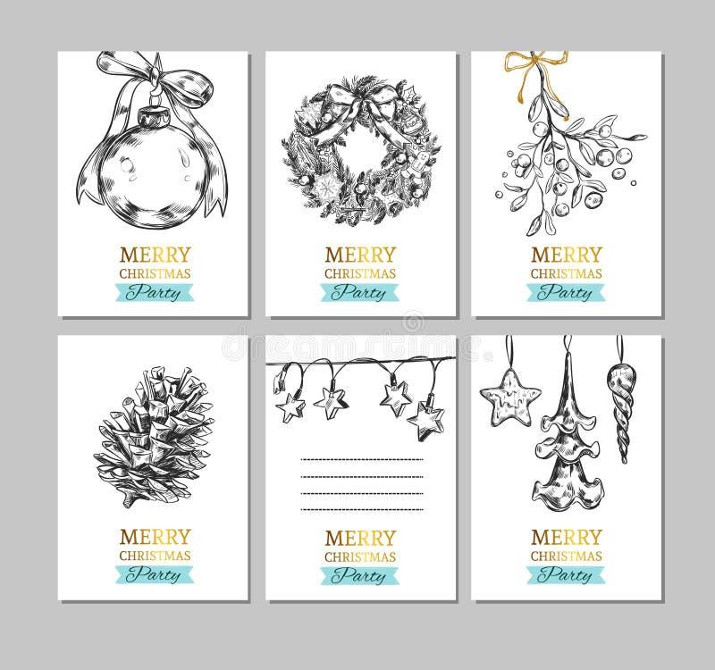 Gezeichnete Aufkleber der frohen Weihnachten und des guten Rutsch ins Neue Jahr Hand, Karte, Fahnen Weihnachtsball, Tannenbaumkeg vektor abbildung