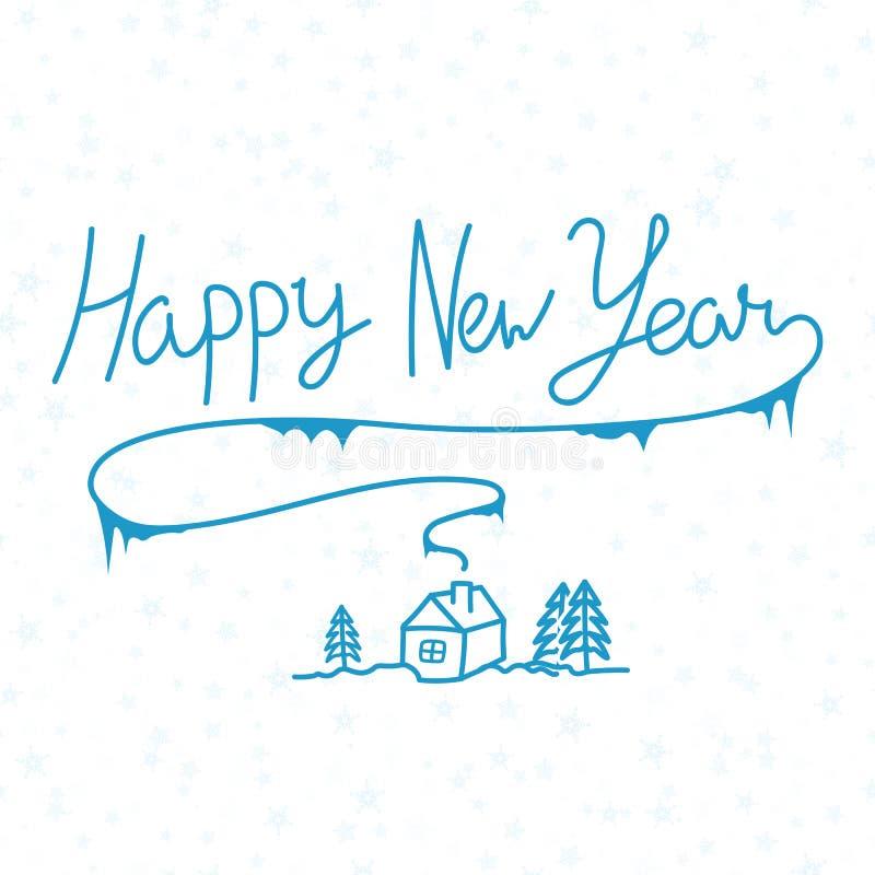 Gezeichnete Aufschrift der Kalligraphie des guten Rutsch ins Neue Jahr lineare Hand auf Whit vektor abbildung