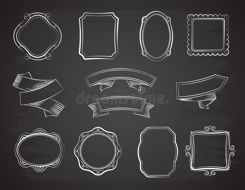 Gezeichnete Bandfahnen der Weinlesetafel Hand, Bilderrahmen und Aufkleber auf schwarzem Tafelvektorsatz vektor abbildung