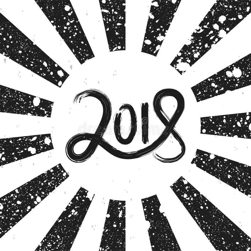 Gezeichnete Beschriftung des neuen Jahres 2018 Hand auf Retro- Schmutzschwarzweiss-hintergrund mit Strahlen lizenzfreie abbildung