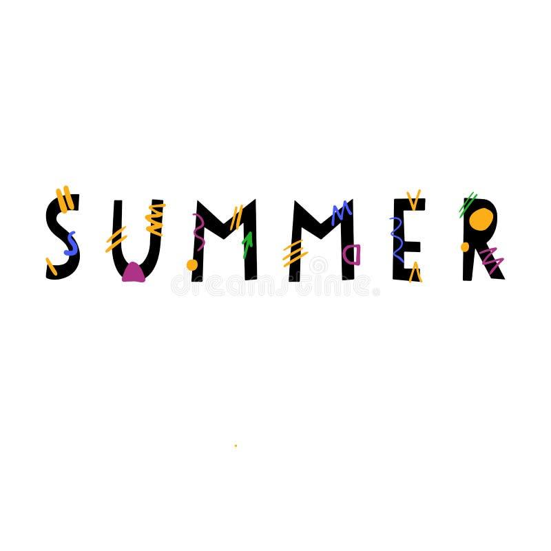 Gezeichnete Beschriftung des Sommers Hand vektor abbildung