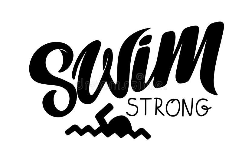 Gezeichnete Beschriftung des Triathlon Hand, Zitat: Schwimmen Sie starkes, fahren Sie schnell rad, laufen Sie, um zu gewinnen vektor abbildung