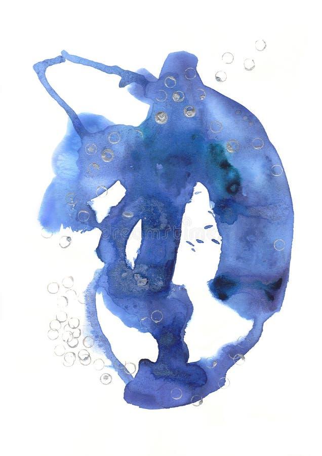 Gezeichnete blaue abstrakte Stelle des Aquarells Hand mit silbernen Acrylelementen lizenzfreie abbildung