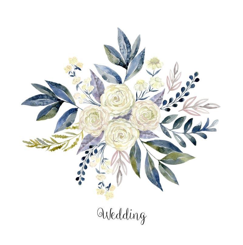 Gezeichnete Blumenzusammensetzung des Aquarells Hand auf Weiß stock abbildung