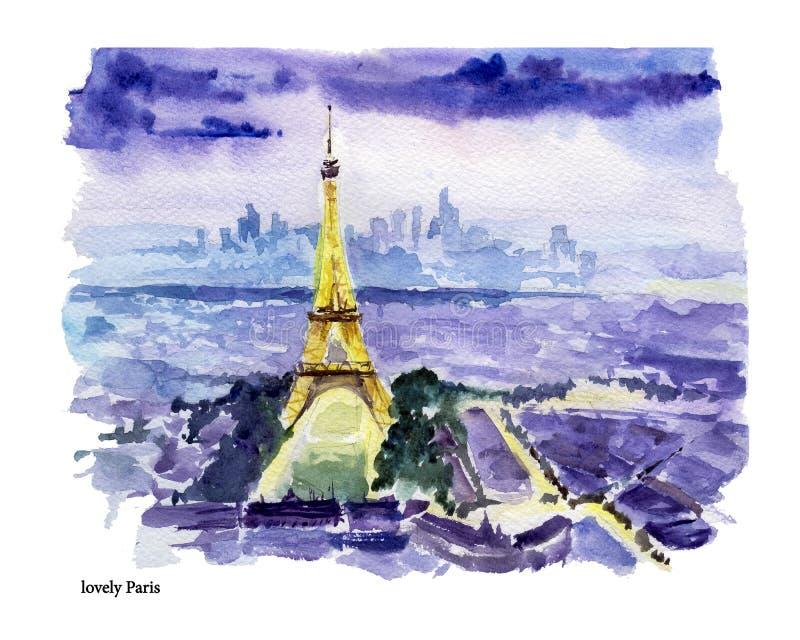 Gezeichnete bunte Illustration des Aquarells Hand der Paris-Stadtansicht stock abbildung
