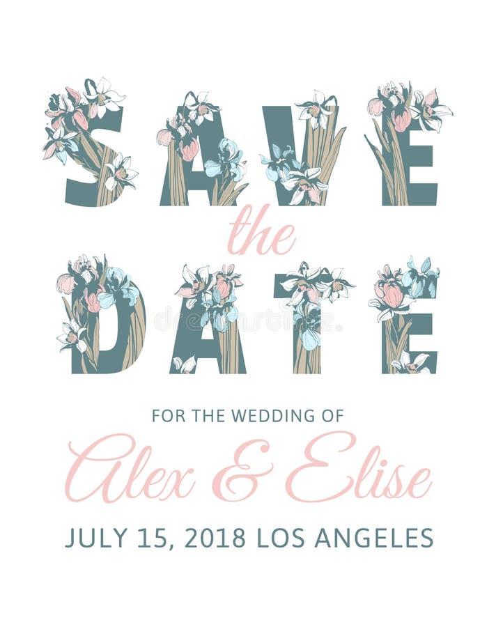 Gezeichnete Feder Hintergrund des Hochzeits-Einladungs-Beschriftungs-Abwehr-Datums blüht Hand lizenzfreie abbildung