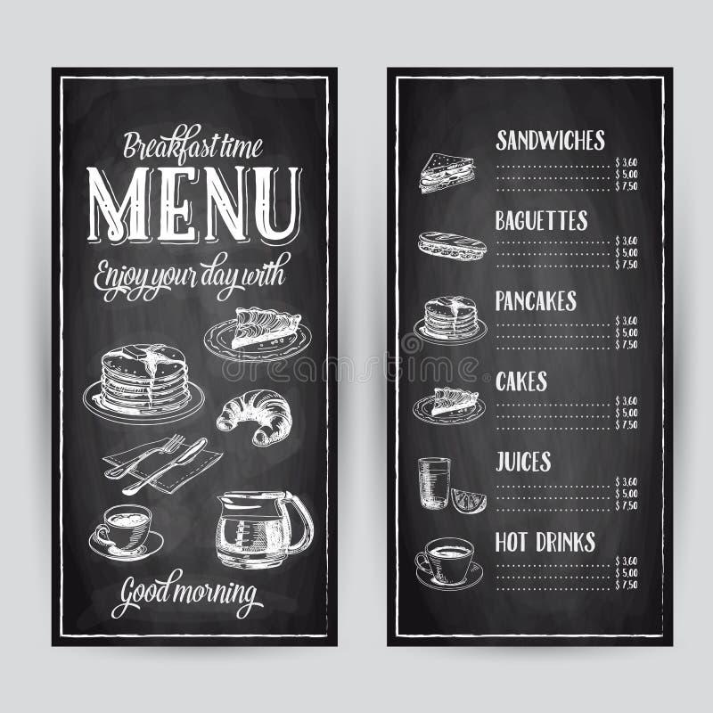 Gezeichnete Frühstücksillustration des Vektors Hand lizenzfreie abbildung