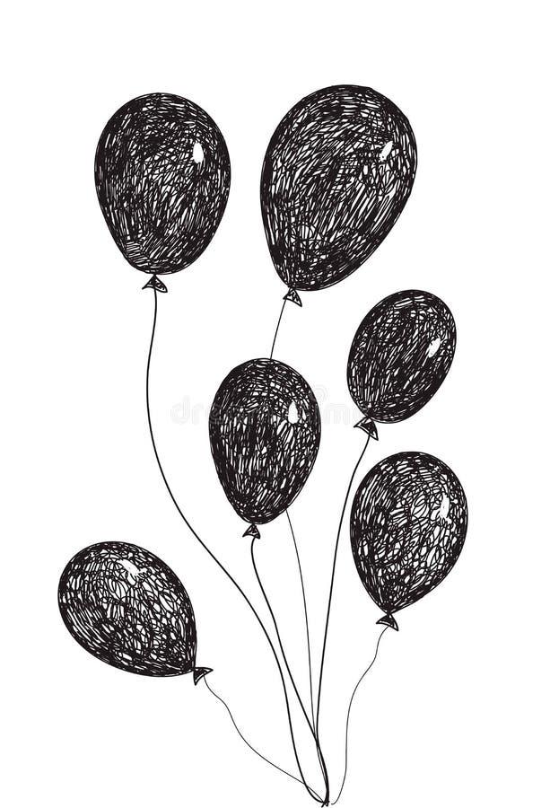 Gezeichnete Gekritzelballone des Vektors Hand lizenzfreie abbildung