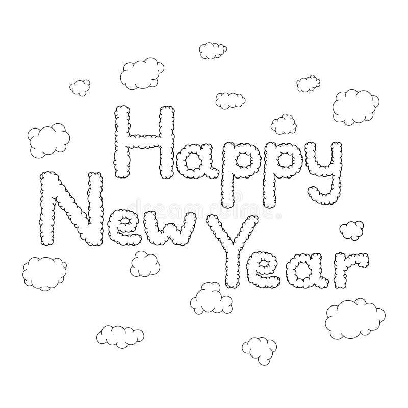 Gezeichnete Gekritzelwolken des guten Rutsch ins Neue Jahr Hand stockfotos