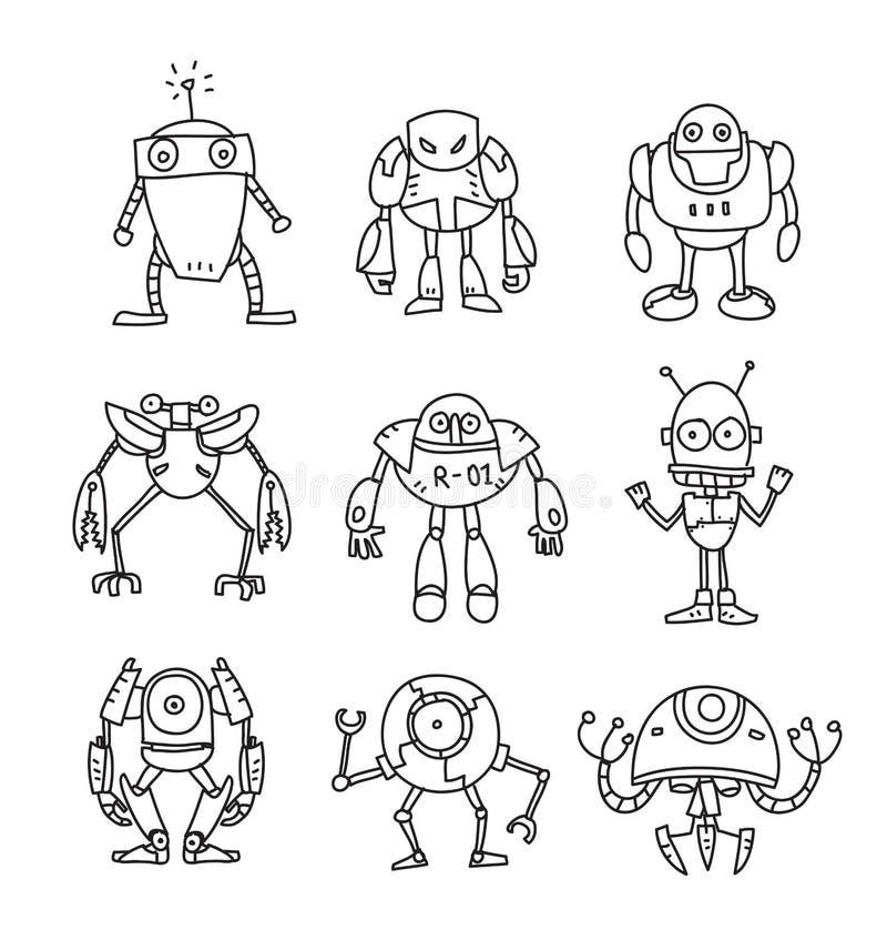 Gezeichnete gesetzte Linie Kunstillustration des Vektors der Roboter nette Hand stock abbildung