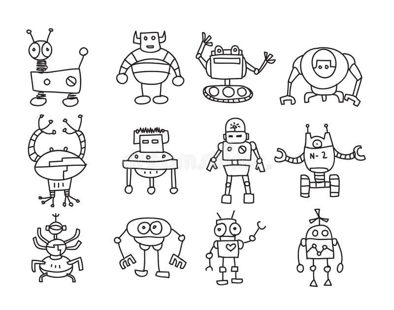 Gezeichnete gesetzte Linie Kunstillustration des Vektors der Roboterikone nette Hand stock abbildung