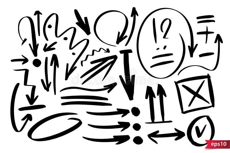 Gezeichnete Gestaltungselemente des Vektors Hand Gezeichnete Anmerkungen und Kennzeichen der Tinte B?rste Satz k?nstlerische Elem stock abbildung