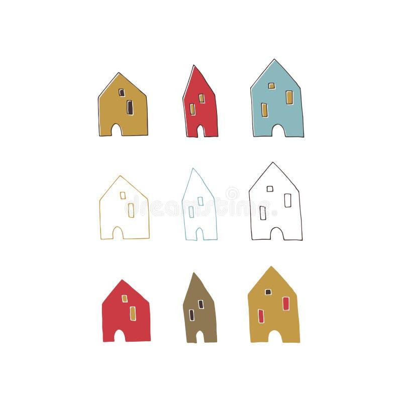 Gezeichnete Häuser des Vektors Hand lizenzfreie abbildung