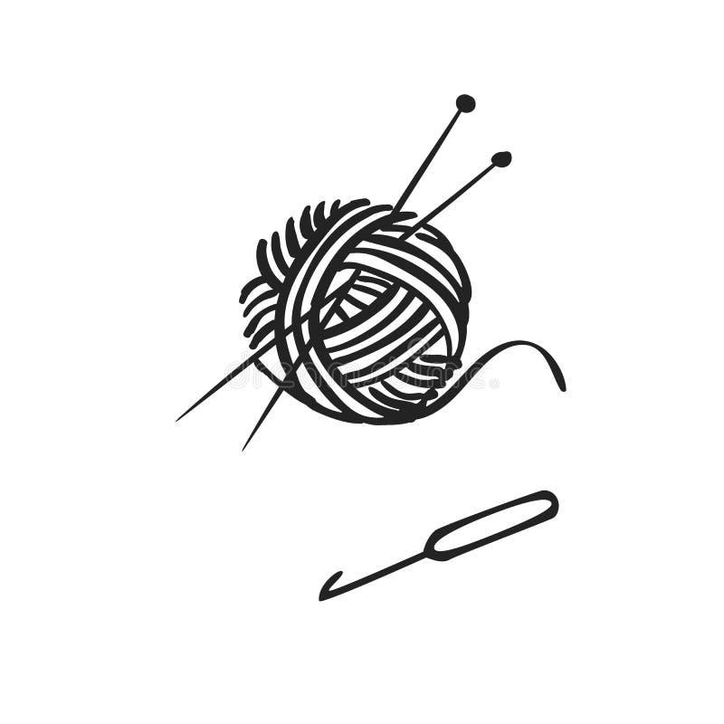 Gezeichnete Ikone des Vektors Hand des Strickens lizenzfreie abbildung