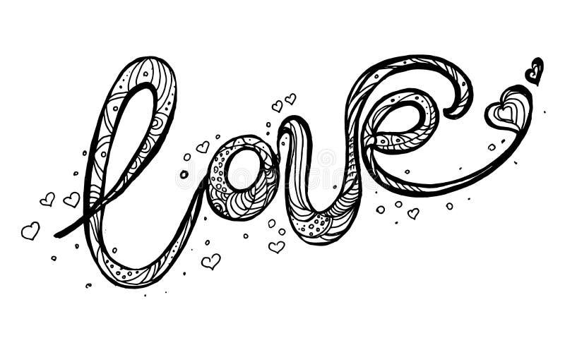 Gezeichnete Illustration der Liebe Hand mit Handbeschriftung Hand gezeichnete Auslegungelemente lizenzfreie abbildung