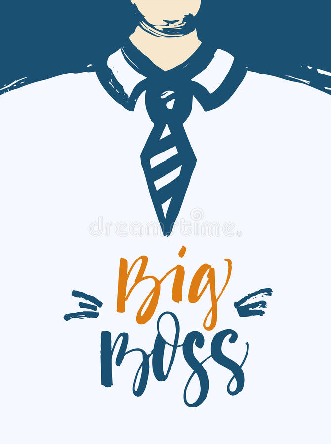 Gezeichnete Illustration des großen Chefs Hand mit Beschriftung lizenzfreie abbildung