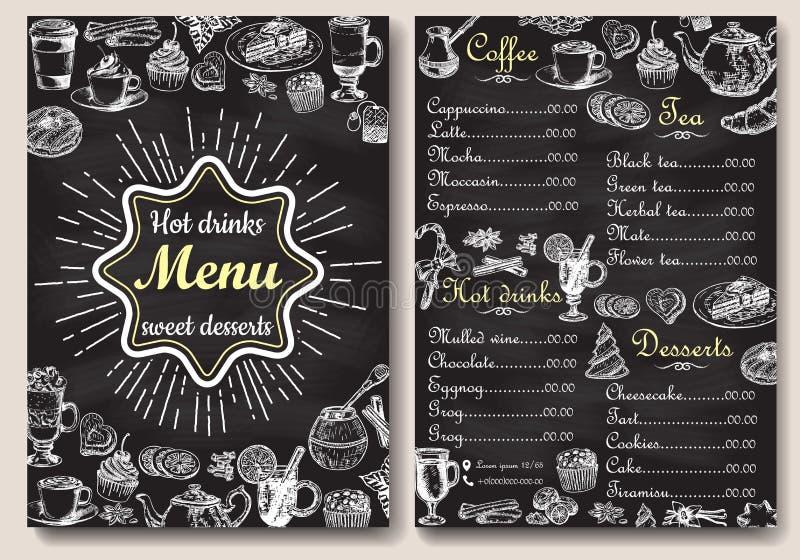 Gezeichnete Illustration des Restauranttafelmenüdesign-Vektors Hand lizenzfreie abbildung