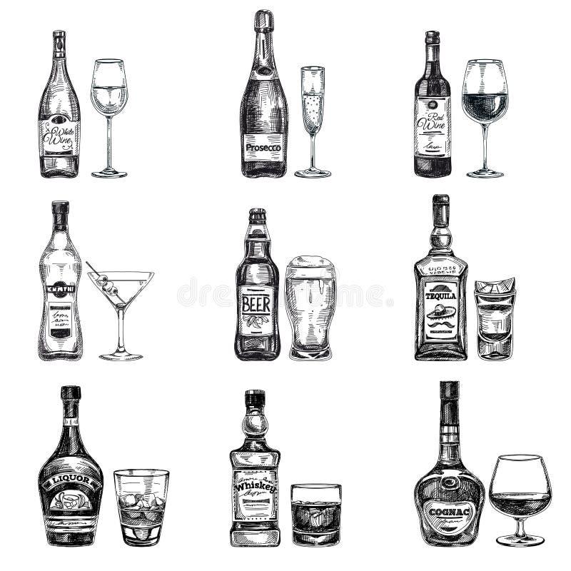 Gezeichnete Illustration des Vektors Hand mit Alkoholiker vektor abbildung