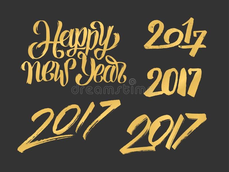 Gezeichnete Kalligraphiezahlen des neuen Jahres 2017 Hand eingestellt vektor abbildung