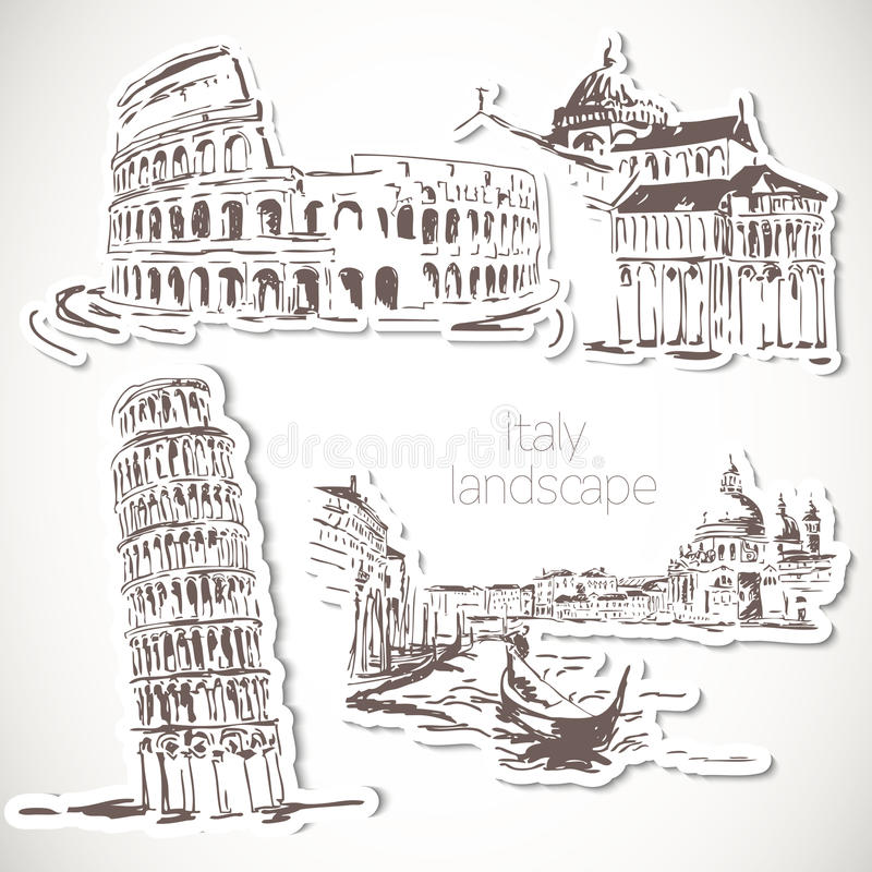 Gezeichnete Landschaft Italiens Hand in der Weinleseart vektor abbildung