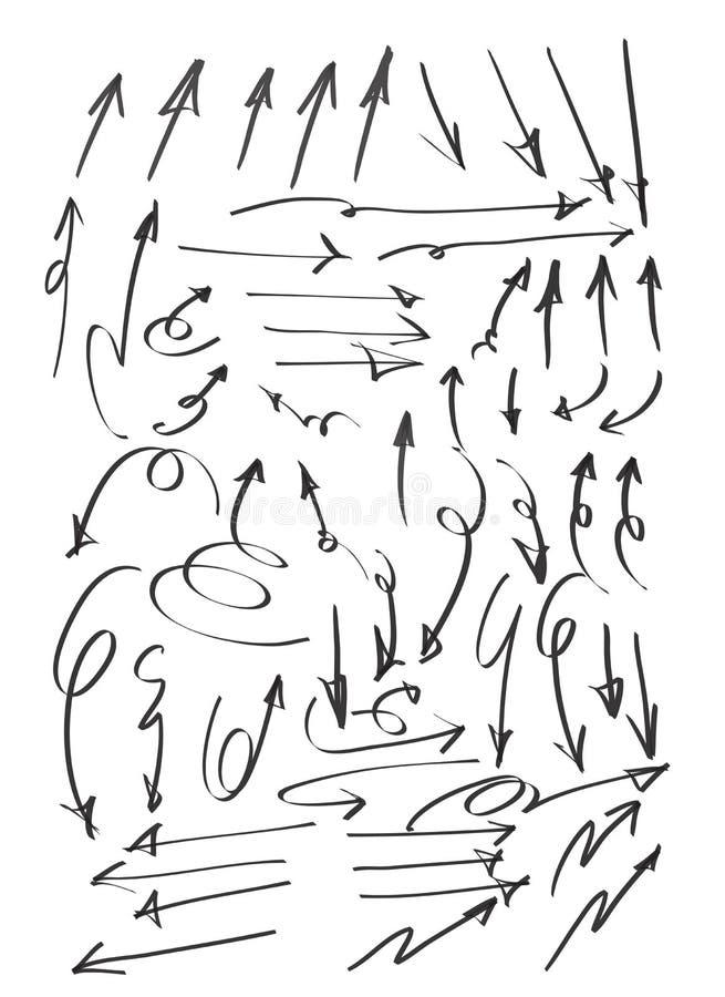 Gezeichnete nette Linie gesetzte Illustration des Satzes der Pfeile große Hand des Kunstvektors vektor abbildung