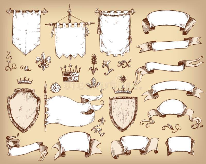 Gezeichnete Sammlung des Vektors Hand heraldische Schablonen: Schild, Flagge stock abbildung