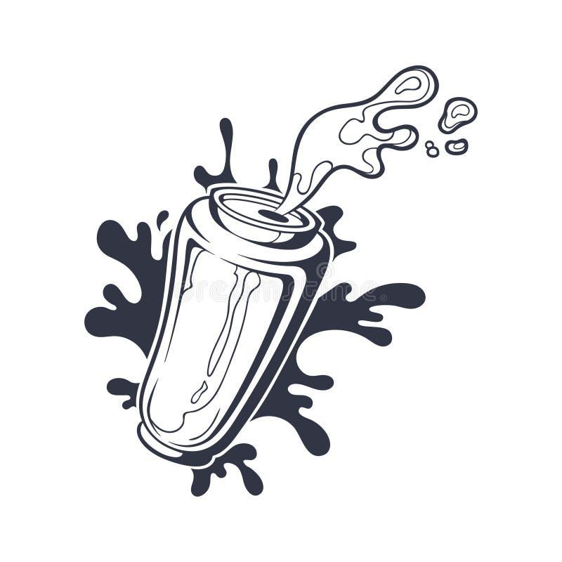 Gezeichnete Schwarzweißabbildung des Vektors Hand der Dose mit Bier lizenzfreies stockbild