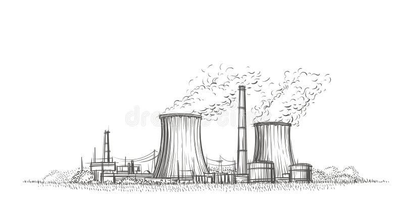 Gezeichnete Skizze des Atomkraftwerks Hand Vektor vektor abbildung