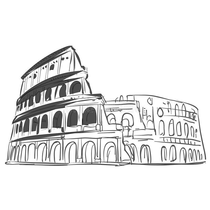 Gezeichnete Skizze des Kolosseums Hand lizenzfreie abbildung