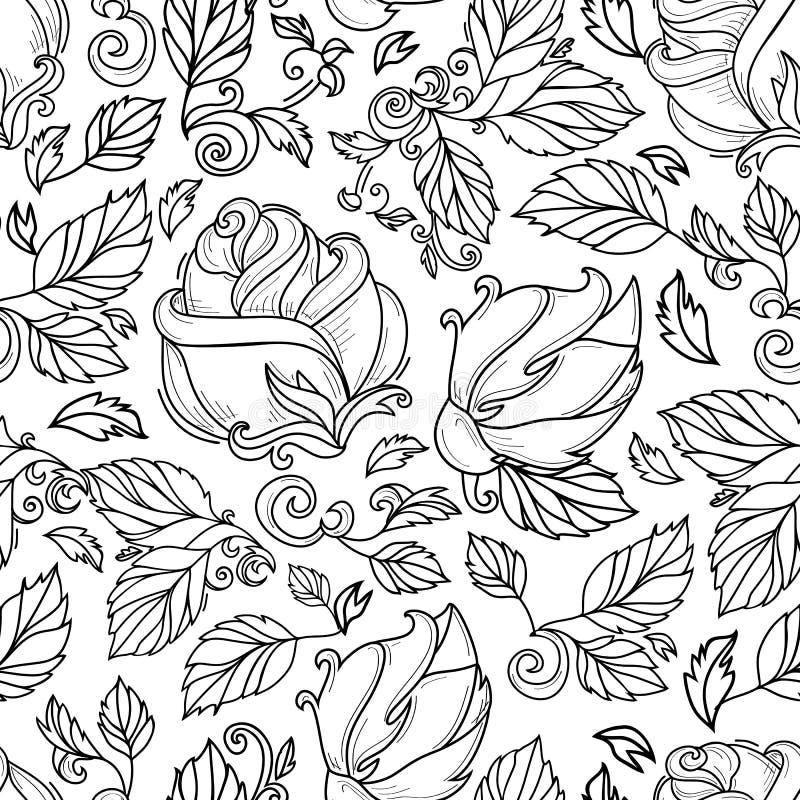 Gezeichnete Skizze des Vektors Hand stieg mit Blättern lizenzfreie abbildung