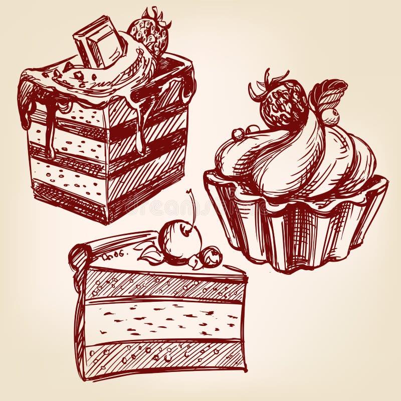 Gezeichnete Skizze llustration Vektor des Schnellimbisses der Kuchen gesetzte Hand stock abbildung
