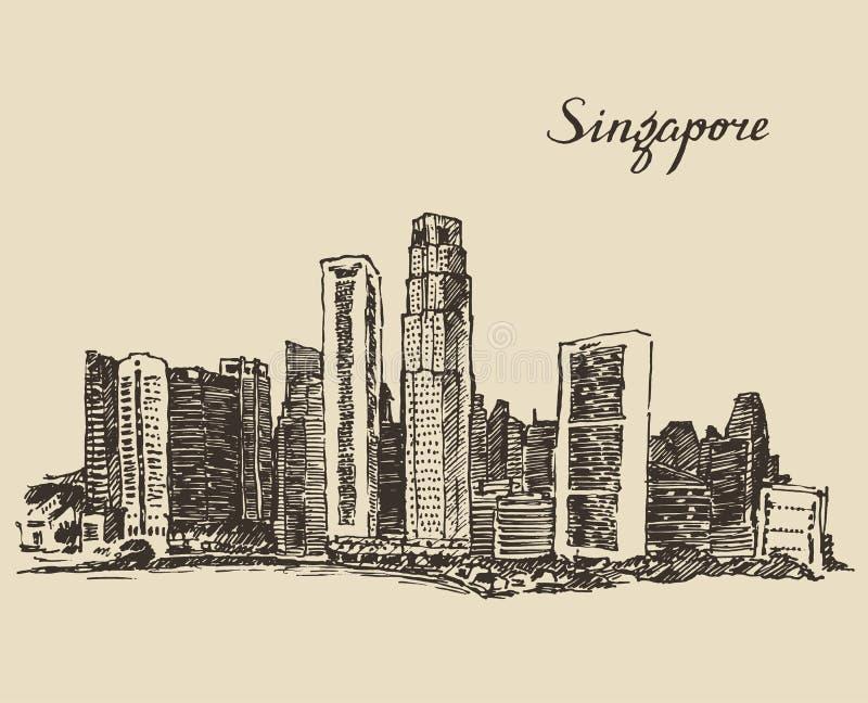 Gezeichnete skizze singapur architektur hand vektor - Architektur skizze ...
