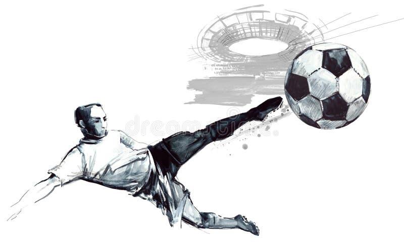 Gezeichnete Skizzenillustration des Fußballschattenbildes Hand lizenzfreie abbildung