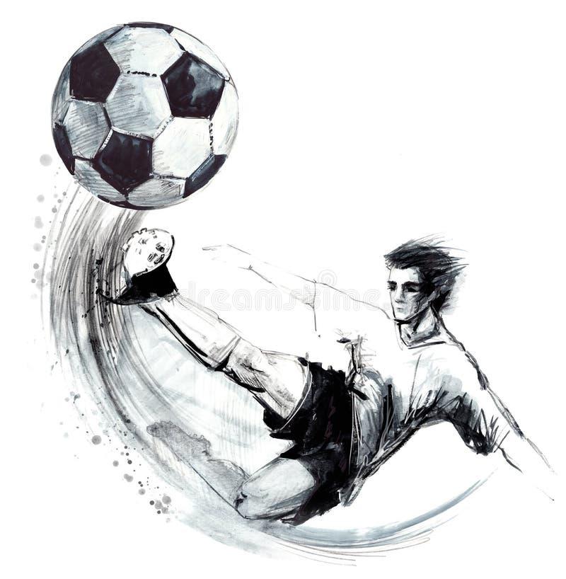 Gezeichnete Skizzenillustration des Fußballschattenbildes Hand stock abbildung
