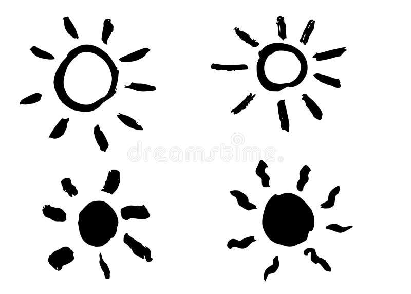 Gezeichnete Sonne des Schmutzes Hand Vektor, lokalisiert lizenzfreie stockfotografie